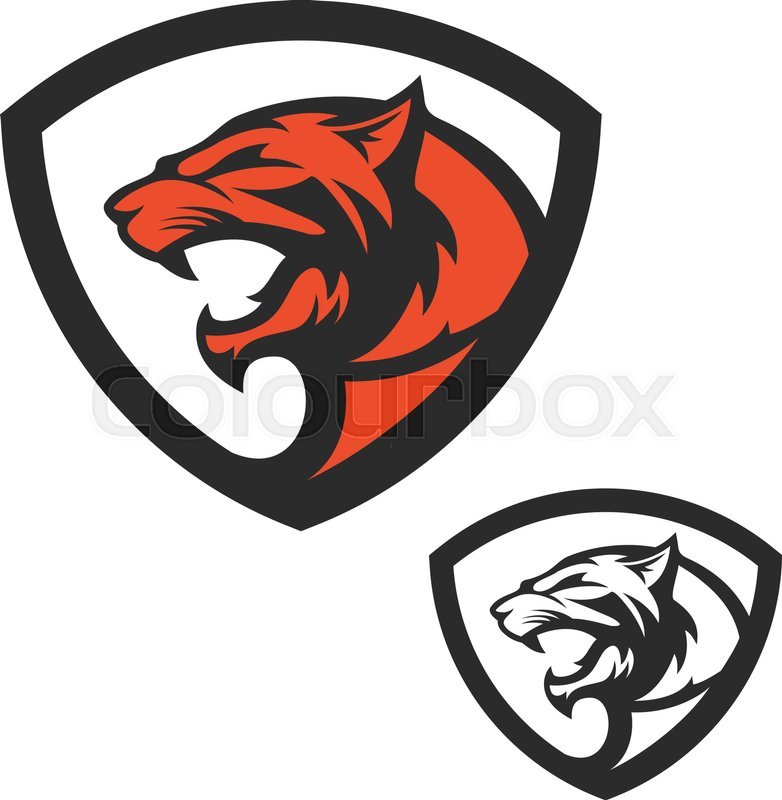 Shield emblem template with puma head. Design elements for logo ...
