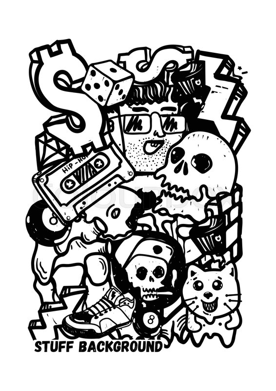 Graffiti vector stuff background sticker poster colorful doodle pattern in black and white color used clipping mask for easy editing