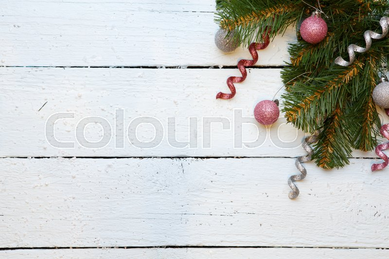 Empty place for wishes with branch spruce with Christmas decorations, stock photo