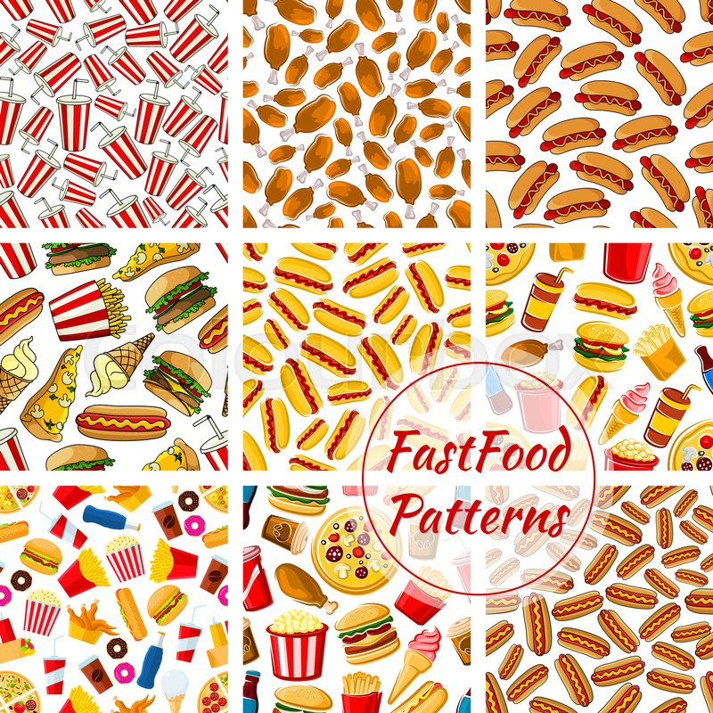 fast food patterns set vector seamless background of fast