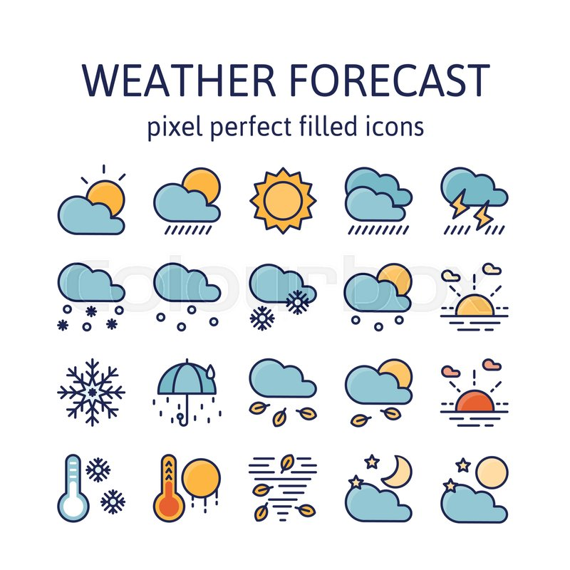 Weather Forecast Filled Outline Icons Pictogram And Symbol