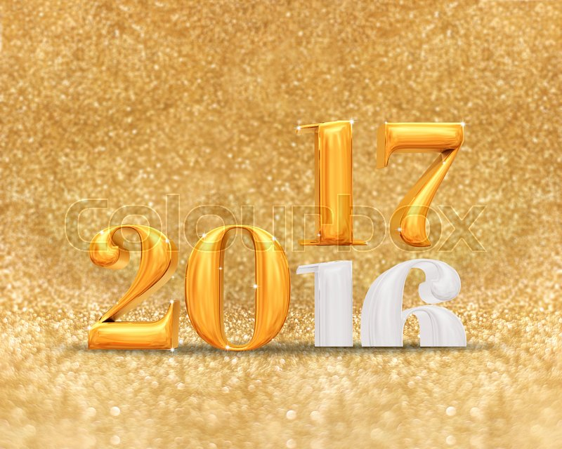 3d rendering golden color 2016 number year change to 2017 year at golden sparkling glitter room background,Holiday greeting card, stock photo