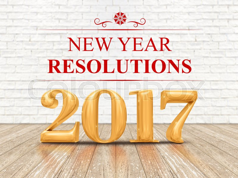 2017 new year resolutions golden color (3d rendering) on white brick wall and wood floor room,Holiday card, stock photo