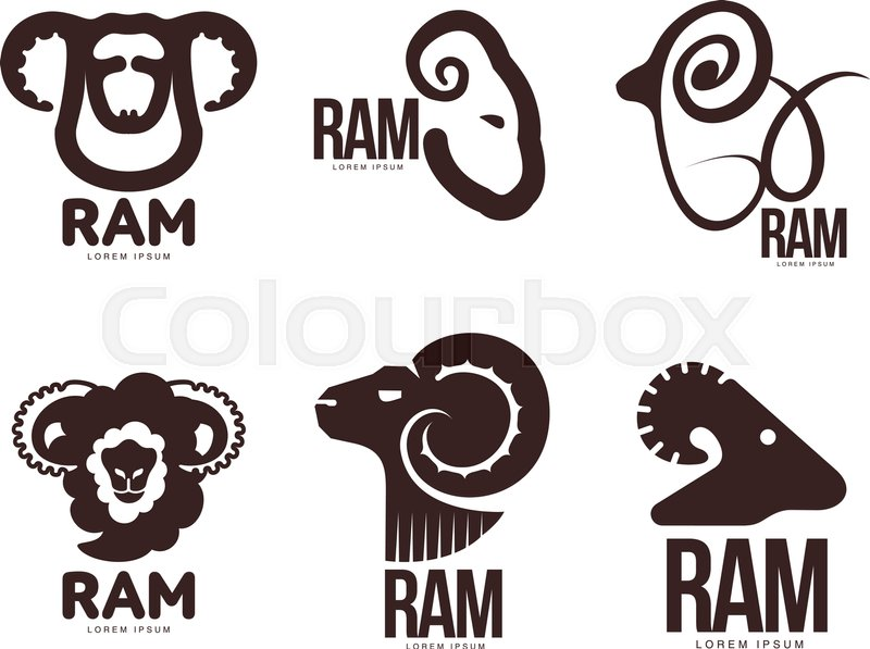 Set of ram, sheep, lamb head graphic logo templates, vector ...