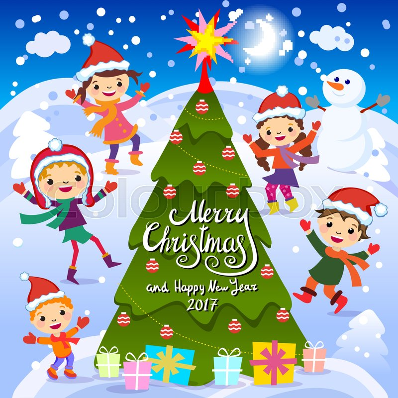 merry christmas and happy new year 2017 winter fun cheerful kids playing in the snow stock vector illustration of a group of happy children in red santa