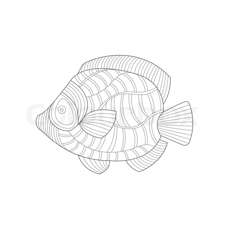 angel fish sea underwater nature adult black and white zentangle coloring book illustration doodle monochrome vector drawing with geometric mosaic patterns - Zentangle Coloring Book