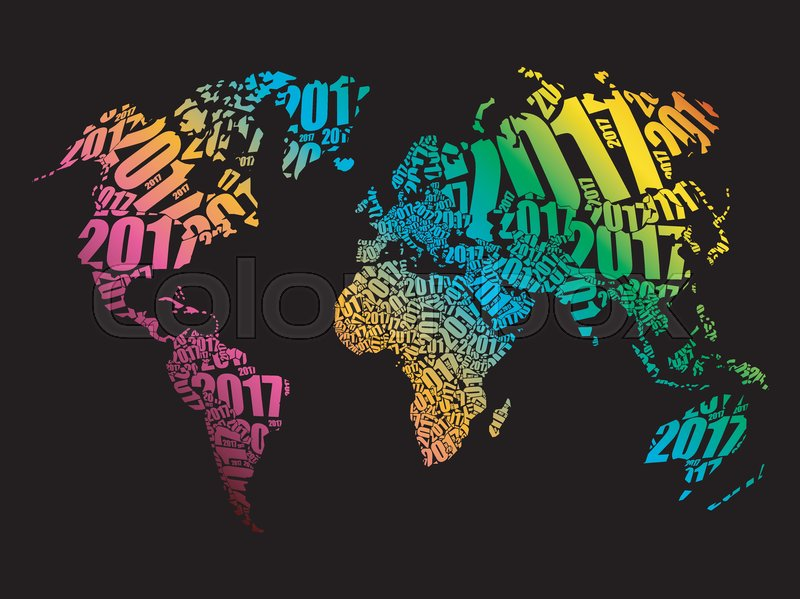 2017 happy new year world map in typography word cloud collage 2017 happy new year world map in typography word cloud collage concept vector gumiabroncs Image collections
