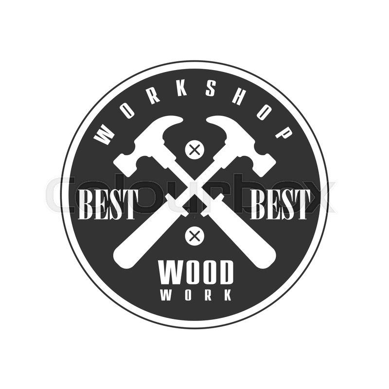 Crossed Hammers In Round Frame Premium Quality Wood Workshop ...