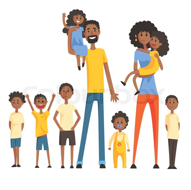 Happy Black Family With Many Children Portrait With All ...