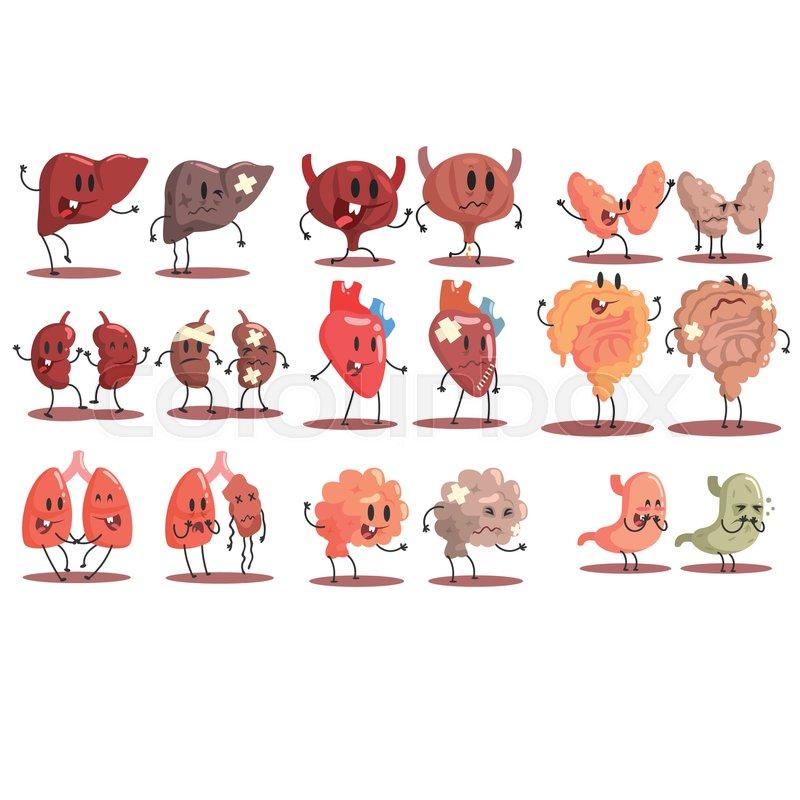 human internal organs healthy vs unhealthy set of medical anatomic