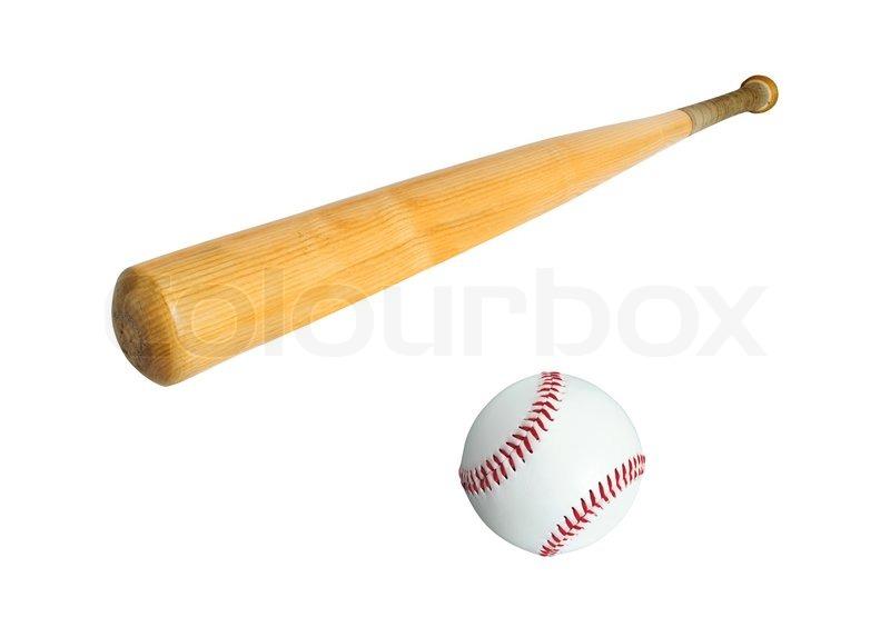 Baseball bat and ball isolated on white ...   Stock image ...