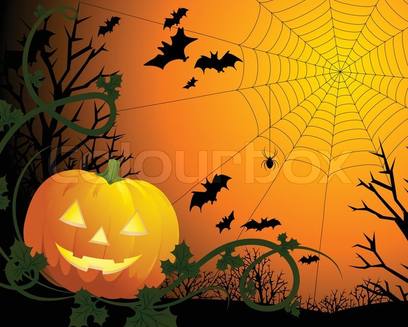 drawing by day halloween with a pumpkin a web and bats stock