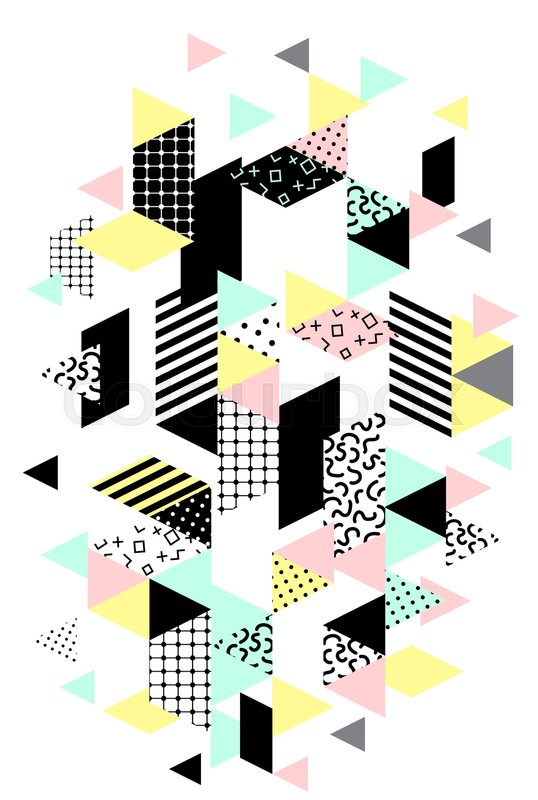 Memphis verical design with geometric shapes. Abstract 80s-90s styles design.  Trendy memphis style. Colorful geometric hipster poster background.