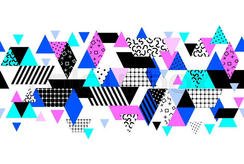 Memphis horizontal seamless border with geometric shapes