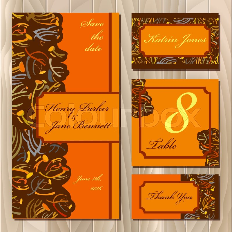 Golden orange brown fall autumn tansy twigs wedding invitation wedding invitation wedding card menu design table card green golden fall color floral abstract design vector illustration stock vector stopboris Images