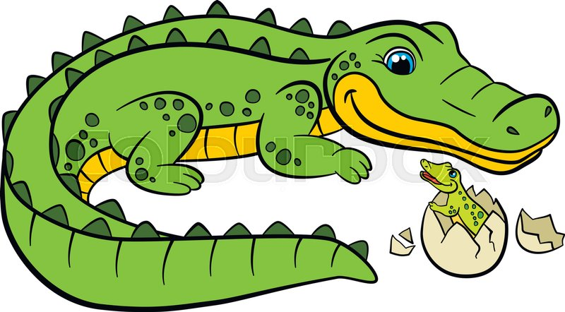 Cartoon Animals For Kids Mother Alligator Looks At Her Little Cute