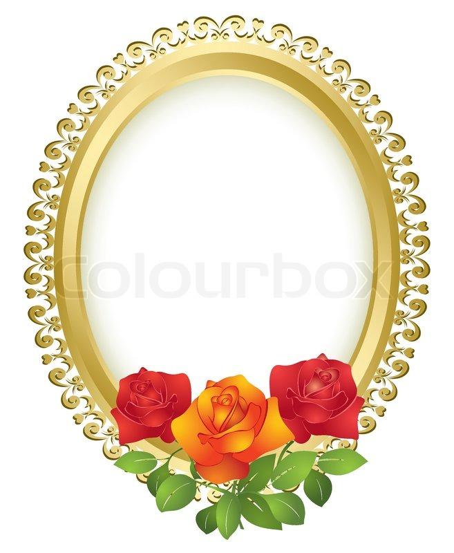 Ovale goldener Rahmen mit Rosen - Vektor | Vektorgrafik | Colourbox