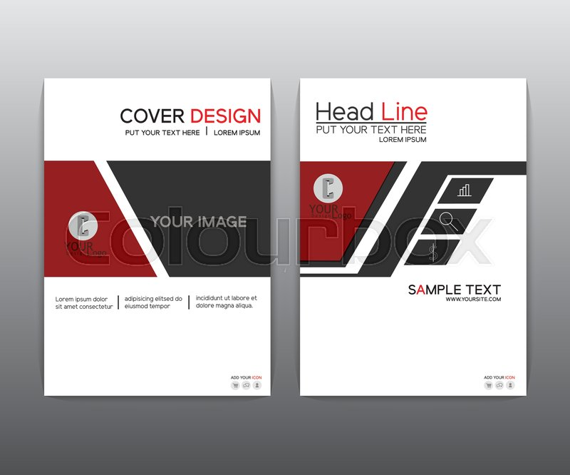 Brochure. Red black elegant Vector annual report Leaflet