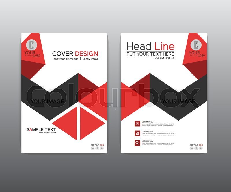Book Cover Design Black : Brochure red black elegant vector annual report leaflet