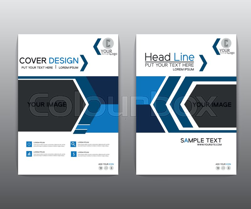 Book Cover Layout Levels ~ Brochure blue black elegant vector annual report leaflet