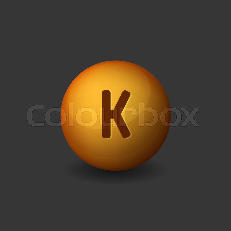 Vitamin K Orange Glossy Sphere Icon On Dark Background Vector Illustration