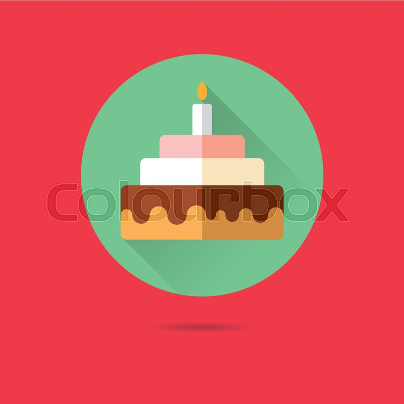 Birthday Cake With Candle Flat Design Long Shadow Vector Icon