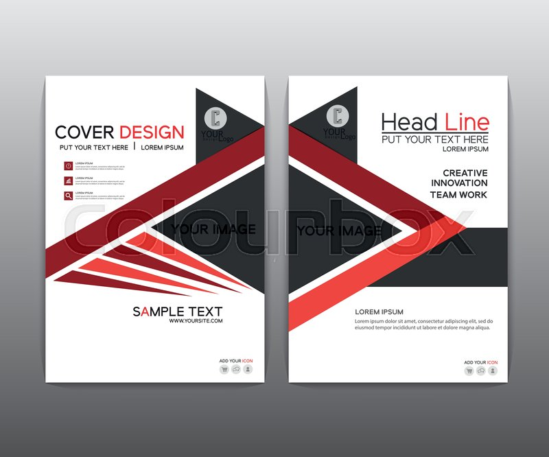 Brochure Red Black Elegant Vector Annual Report Leaflet Brochure
