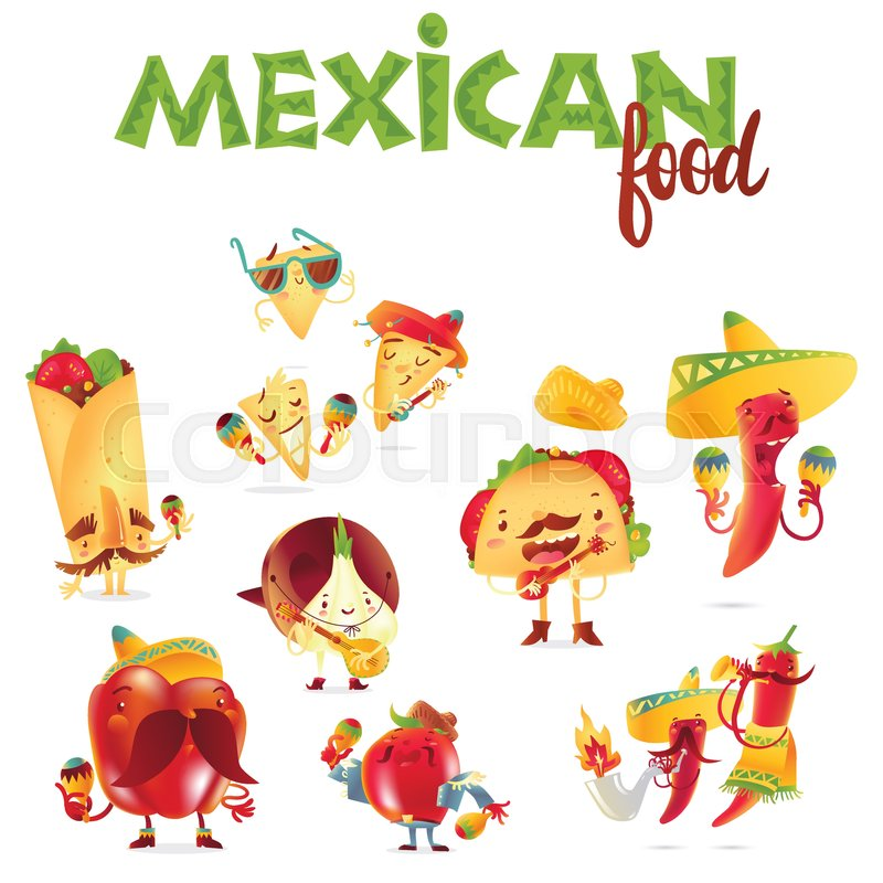 set of happy mexican food characters playing musical instruments rh colourbox com cartoon mexican food cartoon american football players
