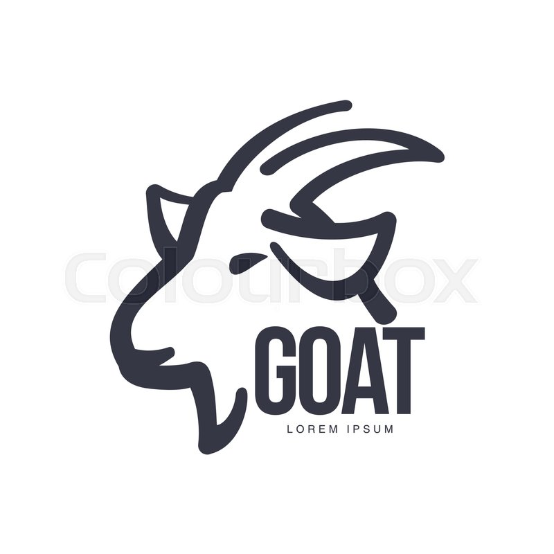 Side View Goat Head Logo Template For Meat And Dairy Products Cartoon Vector Illustration On White Background Profile Outline