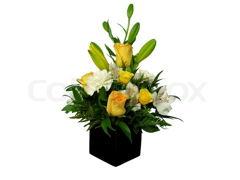 Beautiful Bouquet Of Flowers In Black Vase Isolated On White