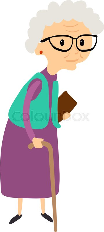 Old Woman With Cane Senior Lady With Glasses Walking