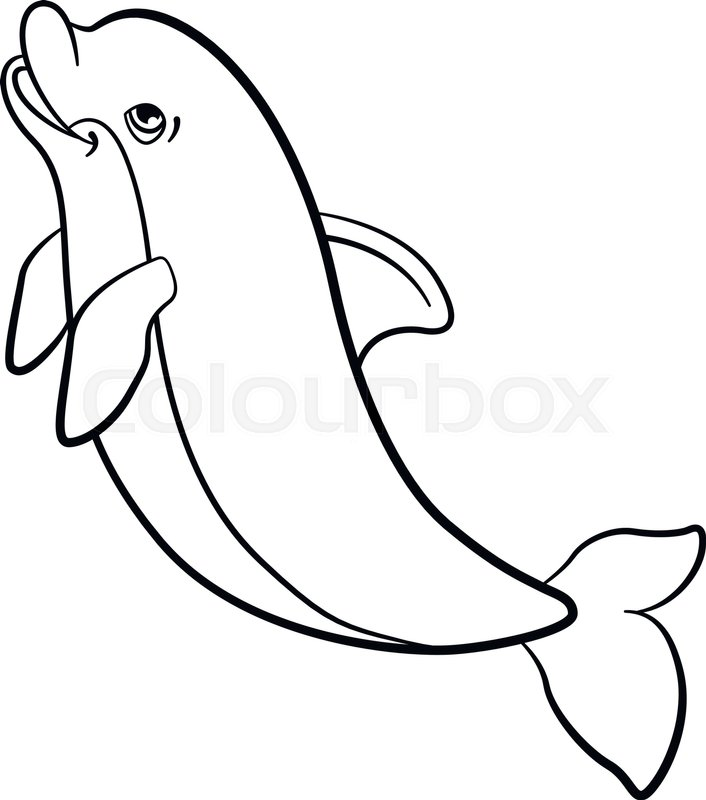 Coloring Pages Marine Wild Animals Little Cute Dolphin Jumps And Smiles Vector