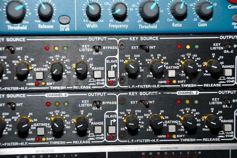 Audio effects processors in a rack Sound Recording Equipment (Media Equipment) Recording studio, stock photo