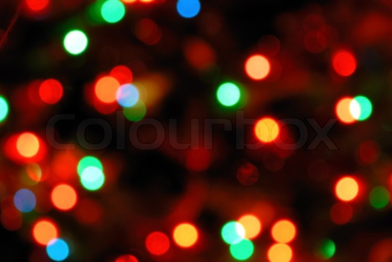 Color Photo Of Blurred Christmas Lights Stock Photo