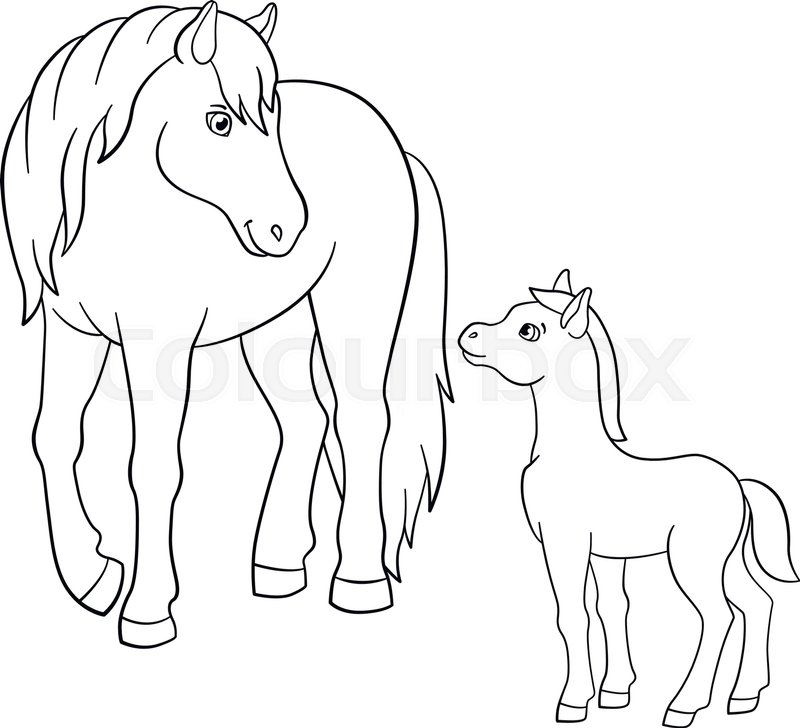 Coloring Pages Farm Animals Mother Stock Vector Colourbox