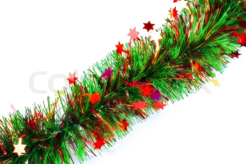 Christmas tinsel garland with stars stock photo colourbox