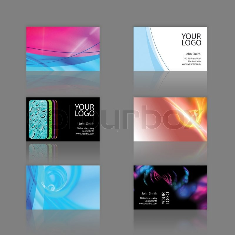 Assortment of 6 modern business card designs templates that are assortment of 6 modern business card designs templates that are print ready and fully customizable stock photo colourbox friedricerecipe Gallery
