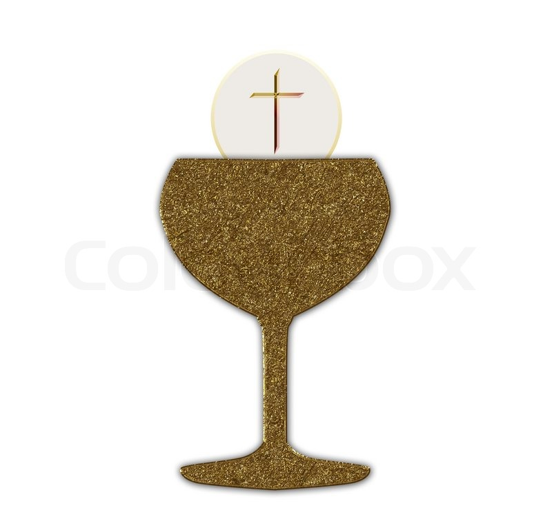 Stock image of 'Gold communion chalice'