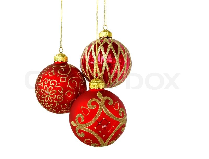 Christmas tree ornaments hanging, isolated on white ...