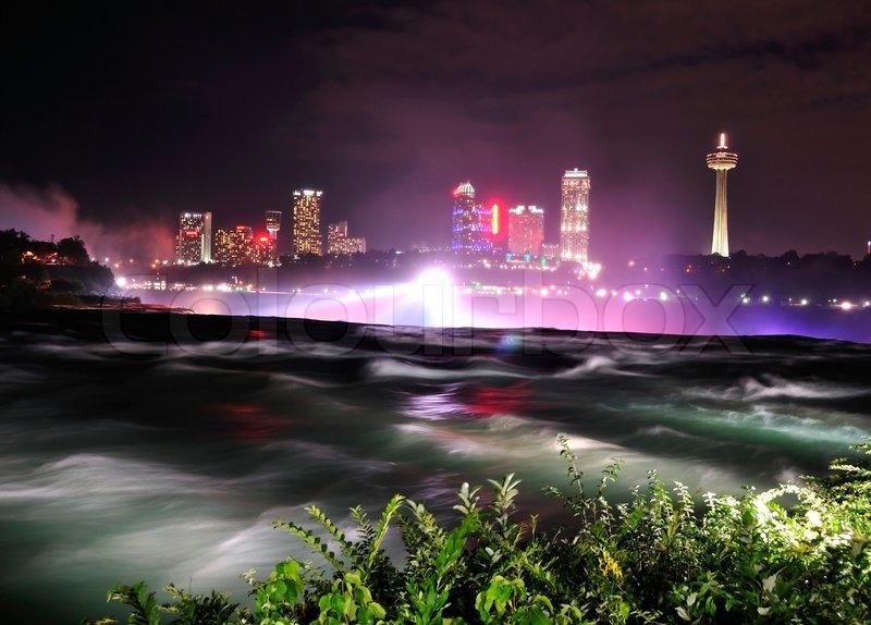 Niagara River in the night time, stock photo