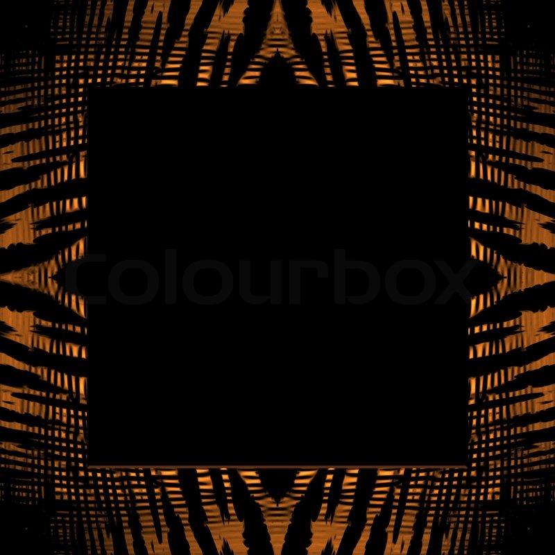 Ein quadratischer Bilderrahmen mit einem Tiger Streifen Textur ...