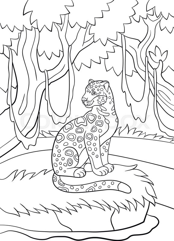 Coloring Pages Cute Spotted Jaguar Sits On The Grass In The Forest
