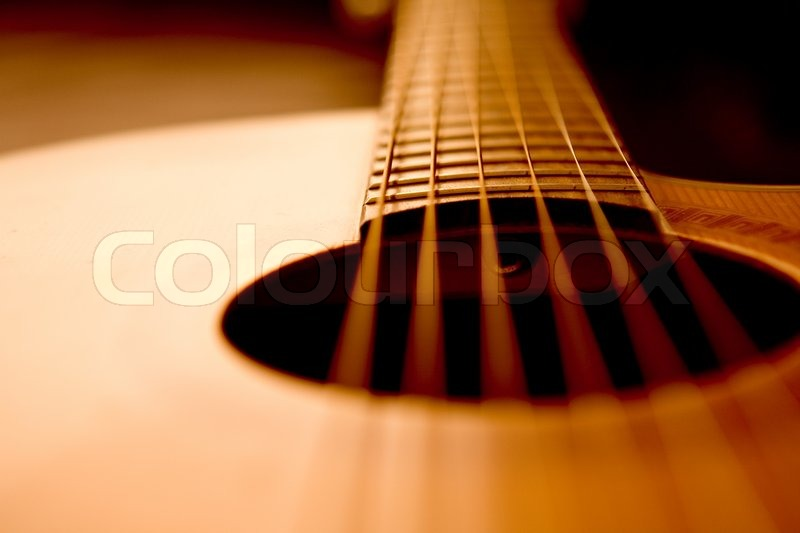 Detail Of A Beautiful Acoustic Guitar Stock Photo Colourbox