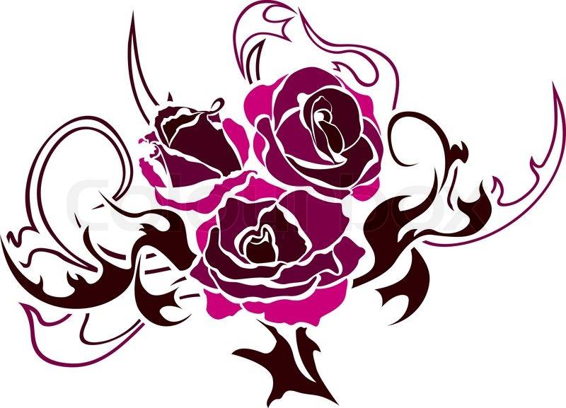 rose tattoo vektor illustration f r web vektorgrafik colourbox. Black Bedroom Furniture Sets. Home Design Ideas