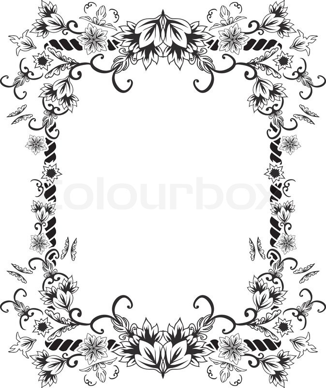 Ornate frame with flowers and butterflies. stencil | Stock Vector ...