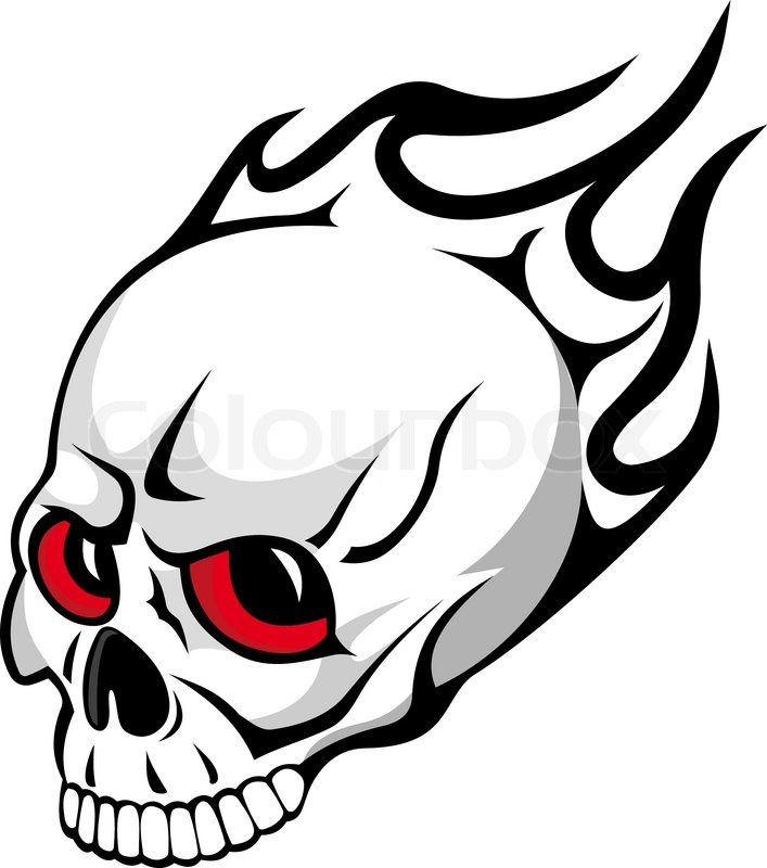 Skull with Flames Clip Art