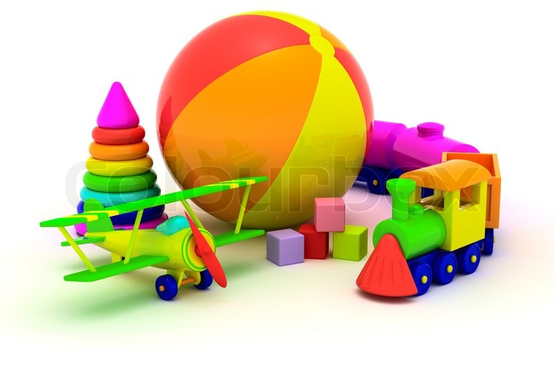 Multicolored Plastic Toys Isolated On Stock Photo Colourbox
