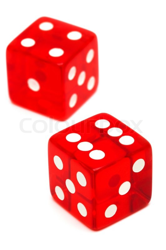 Red And Transparent Dice On A White Background Stock