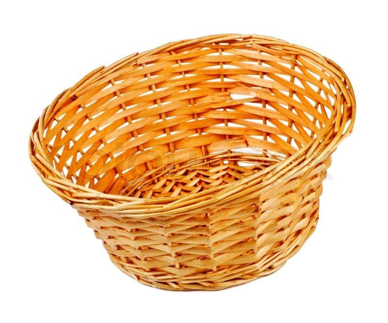Empty Wooden Basket Isolated On White Background Stock