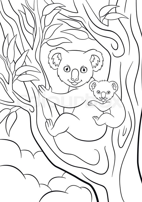 Coloring pages. Mother koala with her ... | Stock vector ...